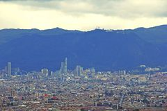 Bogotá, Colombia, a city of contrasts. Panoramic view of the. City of Bogotá where you can see from the most humble neighborhoods to the modern buildings of stock images