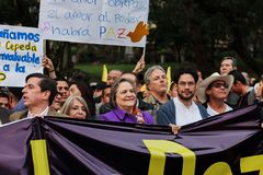 18 Mar 2019 - March for the defense of the JEP, Special Jurisdiction for peace Bogotá Colombia stock photo