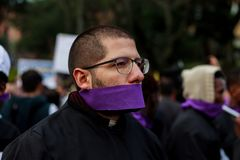 18 Mar 2019 - March for the defense of the JEP, Special Jurisdiction for peace Bogotá Colombia. Bogotá, Colombia. 18th Mar 2019. March for the defense of stock photo