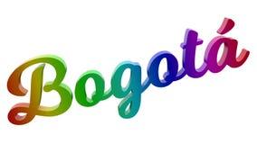 BogotÃ-¡ Stadt-Name kalligraphisches 3D machte Text-Illustration gefärbt mit RGB-Regenbogen-Steigung Stockfotos