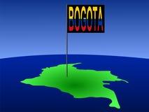 Bogota auf Kolumbien-Karte Lizenzfreie Stockfotografie