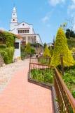 Bogota-Aufstieg zum Schongebiet von Monserrate mit Gärten lizenzfreies stockbild