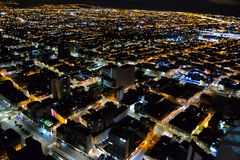 Bogota capital of Colombia at night stock photography