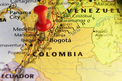 Bogota capital of Colombia, pinned map Royalty Free Stock Photos
