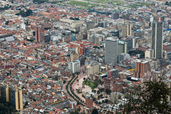 Bogota Colombia. Detail of the City of Bogota with its tower building the bottom of Monserrate hill, Colombia stock image