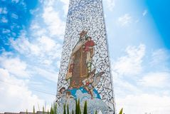 Bogota obelisk with sacred image Corabastos market. Bogota Colombia April 6 This sacred image protects the vendors of Corabasto food market the biggest of the royalty free stock image
