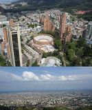 BOGOTA, COLOMBIA - JANUARY 15, 2017: A view of Bogota, planetarium and the bullring of Bogota from the top of the Colpatria stock photo