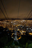 Bogota Colombia Lights. Night View of Bogota Colombia from Montserrate Mountain at top of Cable Car royalty free stock images