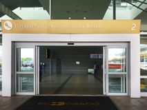 Interior or inside of the airport El Dorado in Bogota. with international tourist and pilot of t royalty free stock photo
