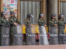 Bogota. Colombia - May 01, 2016: Armed riot police on the streets of Royalty Free Stock Images
