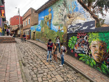 Bogota. Colombia - May 01, 2016: Colourful paintings on the walls of Stock Images