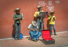 BOGOTA, COLOMBIA - November, 21: Family of street musicians, 21, Royalty Free Stock Photo