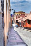BOGOTA, COLOMBIA OCTOBER 22, 2017: Beautiful outdoor view of the streets of La Candelaria dowtown in Bogota Royalty Free Stock Photo