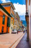 BOGOTA, COLOMBIA OCTOBER 22, 2017: Beautiful outdoor view of the streets of La Candelaria dowtown in Bogota Stock Photography