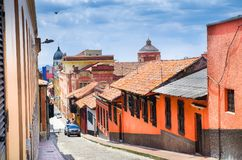 BOGOTA, COLOMBIA OCTOBER 22, 2017: Beautiful outdoor view of the streets of La Candelaria dowtown in Bogota Royalty Free Stock Photography