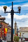 BOGOTA, COLOMBIA OCTOBER 22, 2017: Beautiful outdoor view of the streets of La Candelaria dowtown with a public Royalty Free Stock Image