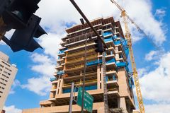 BOGOTA, COLOMBIA - OCTOBER, 11, 2017: Outdoor view of tall building in construction in dowtown in the city of Bogota. Colombia Royalty Free Stock Image