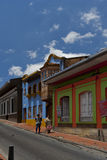 Bogota, Colombia - October 1, 2013: Typical street of touristy d. Street of La Candelaria district, Bogota, Colombia Royalty Free Stock Images