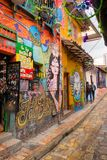 BOGOTA, COLOMBIA OCTOBER 22, 2017: Wall covered by graffiti in the La Candelaria neighborhood of Bogota, capital of. Colombia royalty free stock photos