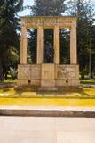 BOGOTA COLOMBIA - OKTOBER, 11, 2017: Härlig utomhus- sikt av monumentet av Rafael Uribe Uribe av staden i Bogota arkivfoto