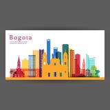 Bogota colorful architecture vector illustration. Skyline city silhouette, skyscraper, flat design