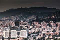 Bogota dark. Panoramic picture of Bogota city showing a dark sky due smoke and pollution stock images