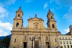 BOGOTA, KOLUMBIA PAŹDZIERNIK 22, 2017: Główny plac z kościół, bolivara kwadrat w Bogota, Kolumbia, ameryka łacińska Obraz Stock