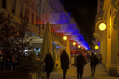 Bogoviceva street in Zagreb advent evening Stock Photos