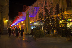 Bogoviceva street in Zagreb advent evening Royalty Free Stock Images