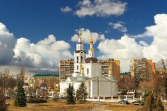 Bogoyavlenskaya Church in Orel, Russia with blue cloudy sky Stock Photography