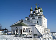 Bogoyavlenskiy cathedral in male priory in city Mstyora(1687-168. Bogoyavlenskiy cathedral with green dome in male priory on background blue sky in city Mstery Royalty Free Stock Photos