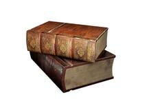 Bogsera gamla böcker som isoleras på vit, illustrationen 3d Tappning antikvariska böcker mot meddelande för äpplebackblackboard m Royaltyfri Fotografi