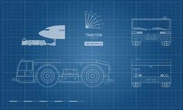 Bogsera medel för flygplan i översiktsstil Framdel-, sido-, överkant- och baksidasikt Reparation och underhåll av flygplan royaltyfri illustrationer