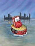 Bogserbåt med cityscape Royaltyfri Foto