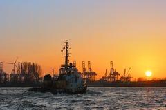 Bogserbåt på solnedgången på Elbet River Royaltyfri Bild