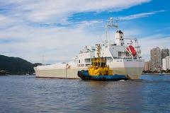 Bogserbåt som vägleder ett skepp royaltyfria bilder