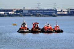 Bogserbåtar som förtöjas i flodThemsen Fotografering för Bildbyråer