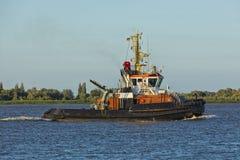 Bogserbåtfartyg på Elbe River Royaltyfri Bild