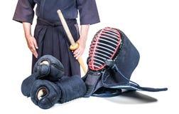 bogu ` αθλητικών τύπων και προστατευτικού εξοπλισμού ` και ξίφος μπαμπού Στοκ Εικόνες