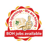 BOH Jobs available, we are hiring Stock Image