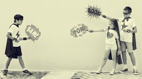 Bohaterów dzieciaków bąbla komiczki Kostiumowy pojęcie zdjęcie royalty free
