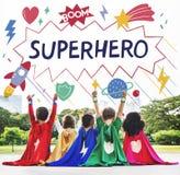 Bohaterów dzieciaków wyobraźni władzy pomagiera pojęcie zdjęcia royalty free