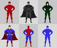 Bohaterów kostiumów płaska wektorowa ilustracja Obrazy Royalty Free