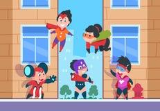 Bohater żartuje tło Dziecko komiczni charaktery, kreskówka szczęśliwi dzieciaki w bohaterów kostiumach na wektorowy miastowym ilustracja wektor