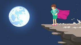 Bohater biznesowej kobiety pozycja na falezie gotowej dla wyzwania Biznesowy symbol Wyzwania i sukcesu poj?cie Komiczny p?tli ani
