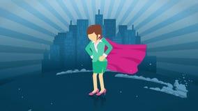 Bohater pozycja na miasta tle Blisko chmury py? Biznesowej kobiety symbol Przyw?dctwo i osi?gni?cia poj?cie Komiczna p?tla