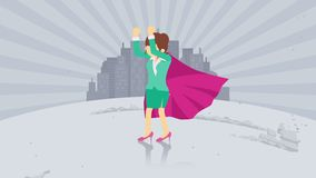 Bohater pozycja na miasta tle Py?u taniec Biznesowej kobiety symbol Przyw?dctwo i osi?gni?cia poj?cie Komiczna p?tli animacja ilustracja wektor