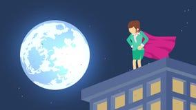 Bohater w blask ksi??yca mie?cie Sta? nad drapacz chmur Biznesowej kobiety symbol Przyw?dctwo i wyzwania poj?cie Komiczny p?tli a