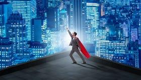 Bohatera biznesmen na górze budynku ilustracji