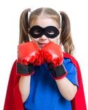 Bohatera dzieciak jest ubranym bokserskie rękawiczki Obrazy Royalty Free